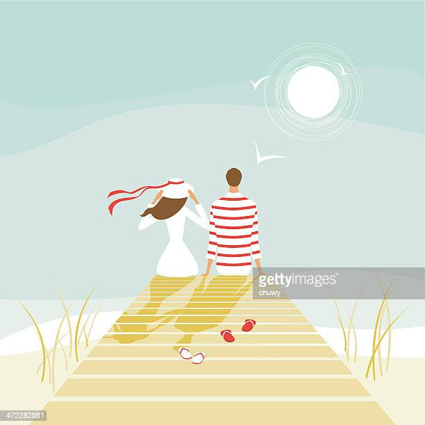 summer lovers on a wharf - pier stock illustrations