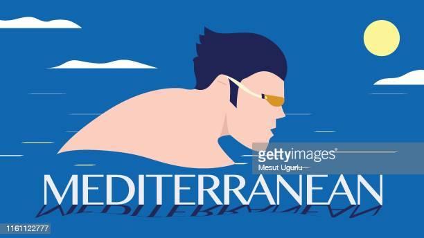 summer mediterranean travel poster - santorini stock illustrations