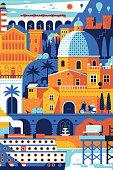 Summer Mediterranean Travel Poster