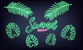 Summer neon set. Summer lettering and neon glowing tropical leaves set