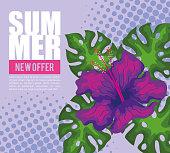 summer new offer banner with flower
