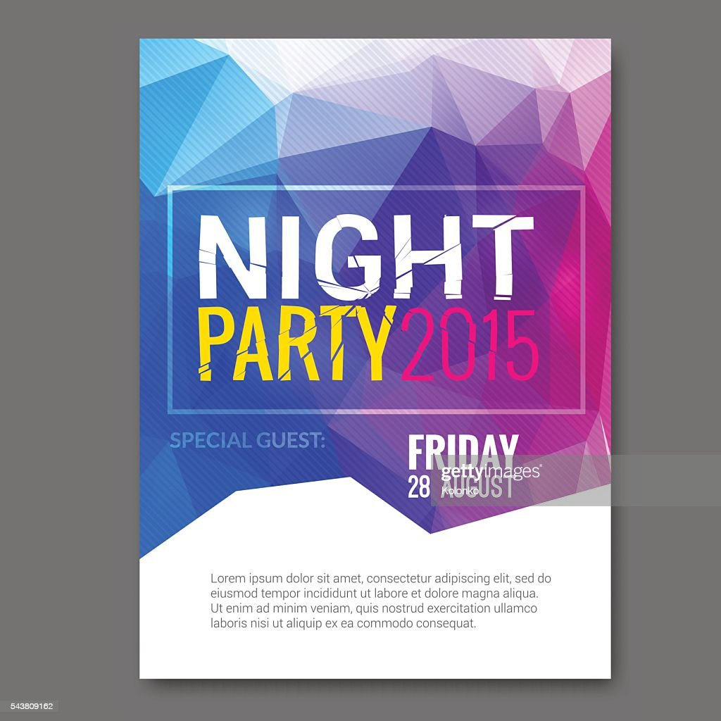 Summer Night Beach Party Vector Flyer Template Design. Polygonal graphic