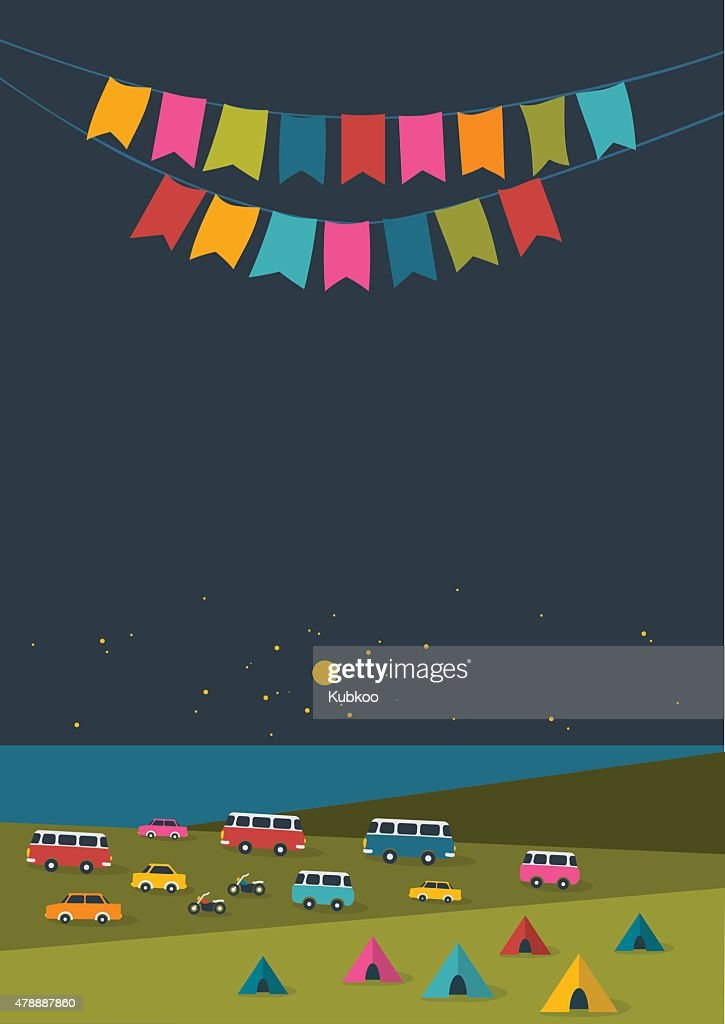 Summer night festival, party music poster