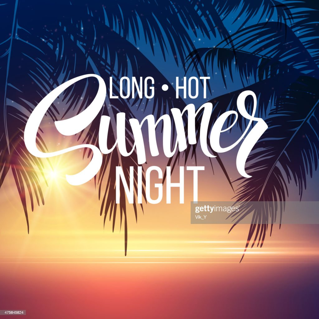 Summer Night. Palm trees  in the night. Vector illustration