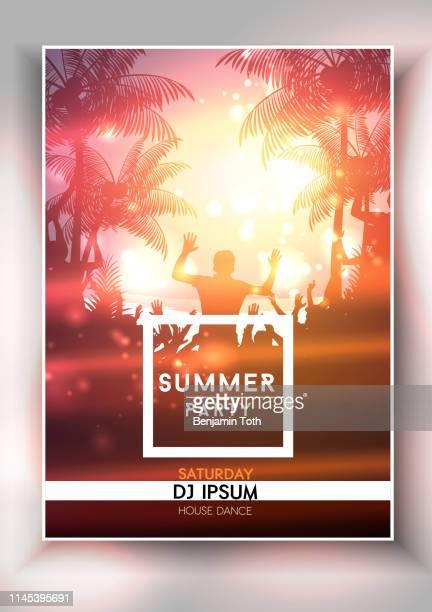 summer night party poster design - back lit stock illustrations