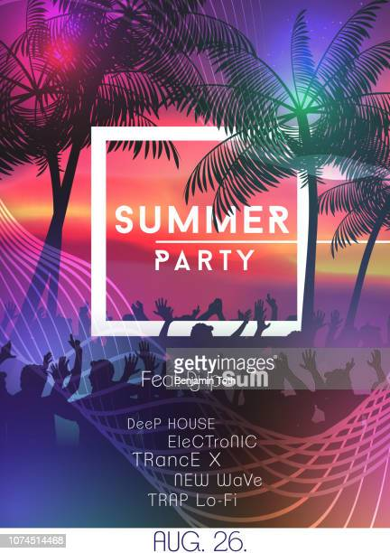 summer night party poster with crowd design - music festival stock illustrations