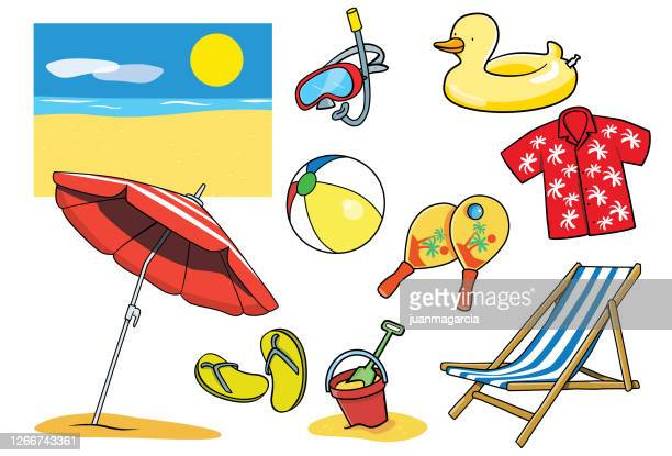 summer objects collage,beach items set isolated. holiday vocation symbol. - scuba mask stock illustrations