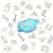 Summer objects set. Vacation background.