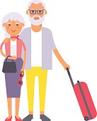 Summer old couple people illustration.