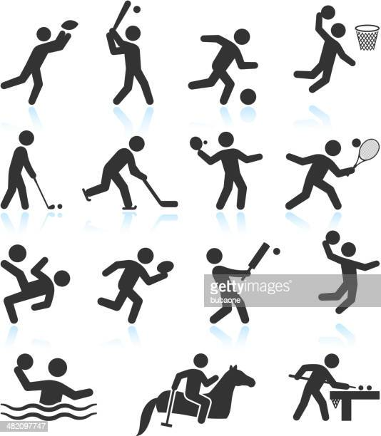 Summer Olympics Sports black & white vector icon set