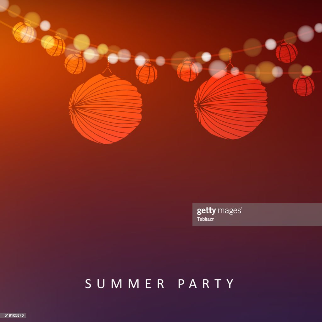 Summer or Brazilian june party, vector background with paper lanterns