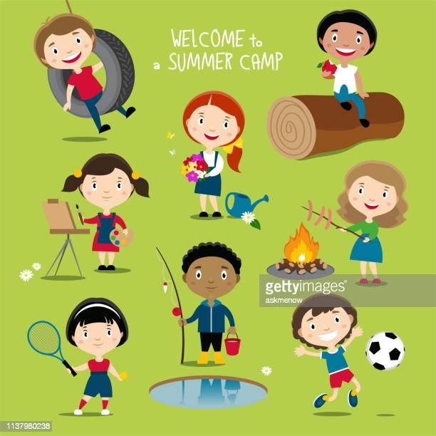 ilustrações de stock, clip art, desenhos animados e ícones de summer outdoor activities for kids - futebol infantil