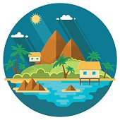 Summer paradise ocean landscape. A beautiful island with huts in the sea. Vacation with a holiday in the tropics. Flat vector illustration