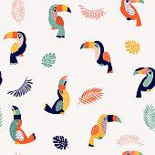 Summer paradise toucan vector seamless pattern