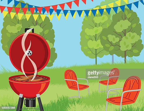 summer park bbq background - picnic stock illustrations