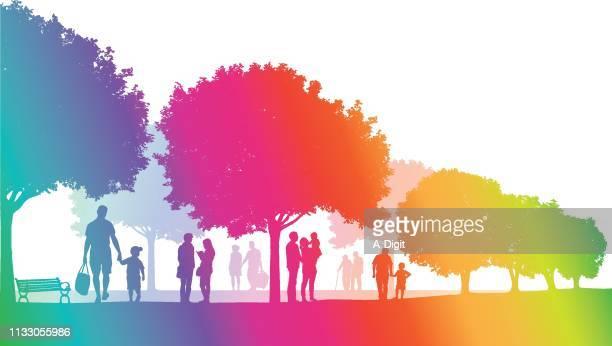 summer parks rainbow - clip art family stock illustrations