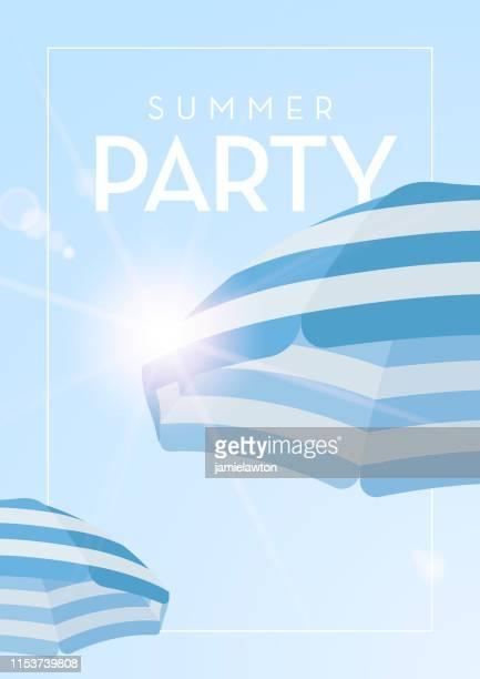ilustraciones, imágenes clip art, dibujos animados e iconos de stock de fondo de fiesta de verano con sombrillas de playa - pool party
