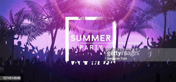summer party banner with crowd design - party stock illustrations