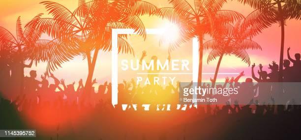 ilustrações de stock, clip art, desenhos animados e ícones de summer party banner with crowd design - jovem adulto