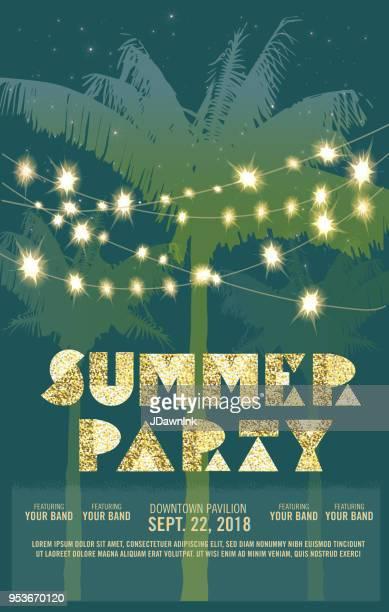 Sommer Party Feier Einladung Entwurfsvorlage mit Palmen