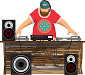 Summer party: DJ and his equipment, dance music