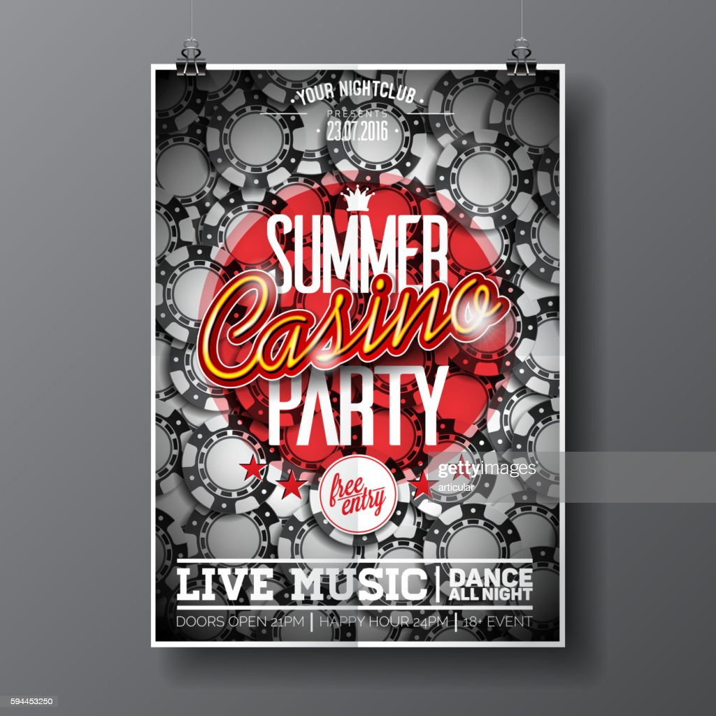Summer Party Flyer design on a Casino theme with chips