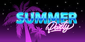 Summer party in neon style. Flyer or banner with palm tree and night sky with stars on background. Vector illustration design.