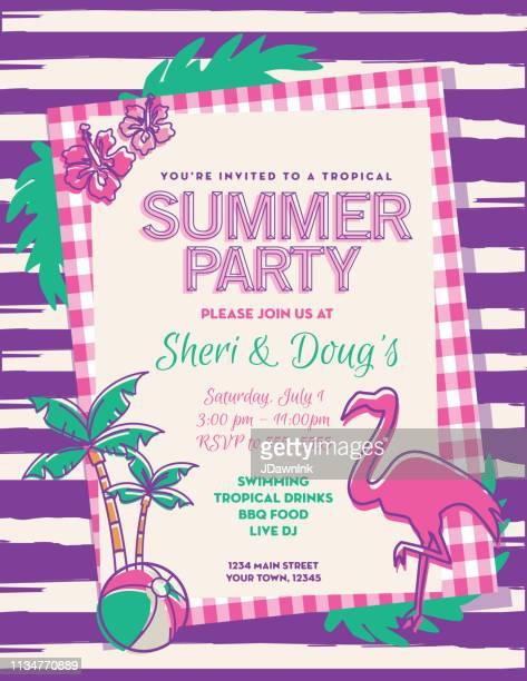 summer party invitation design template - flamingo stock illustrations, clip art, cartoons, & icons