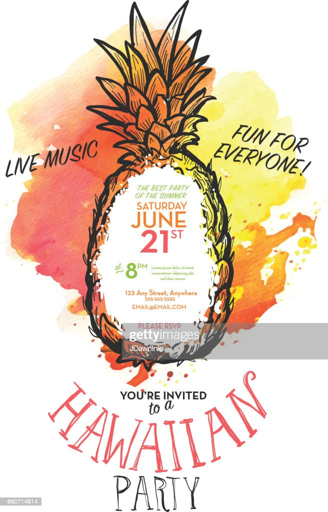 summer party invitation design template with pineapple vector art