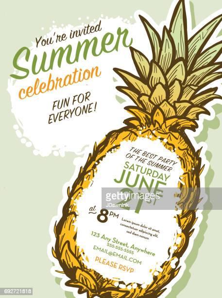 illustrations, cliparts, dessins animés et icônes de modèle de conception invitation été partie à l'ananas - ananas