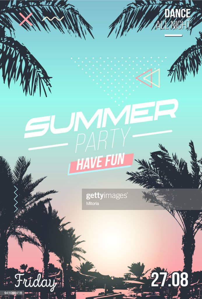 Summer party invitation poster with palm tree silhouette and sunset. Modern summer background for party, invitation, posters etc.