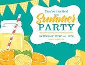 Summer Party Invitation Template With lemonade, lemons, Oranges