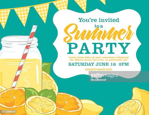 summer party invitation template with lemonade, lemons, oranges - lemonade stock illustrations