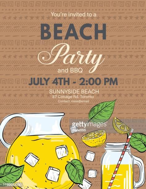 ilustraciones, imágenes clip art, dibujos animados e iconos de stock de plantilla de invitación de fiesta de verano con limones y hojas - pool party