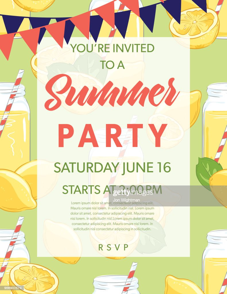 Summer Party Invitation Template With lemons and Oranges