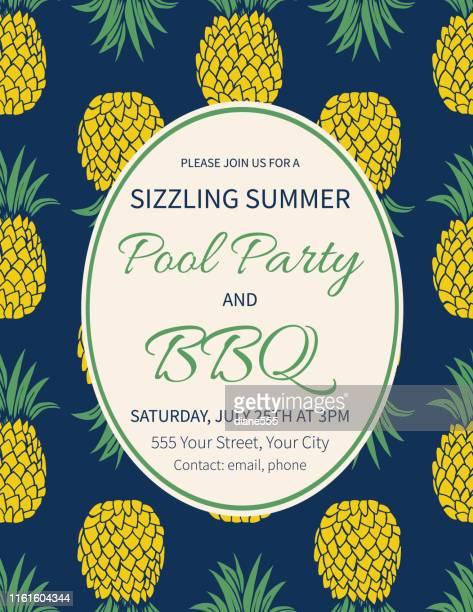 ilustraciones, imágenes clip art, dibujos animados e iconos de stock de plantilla de invitación de fiesta de verano con piñas - pool party