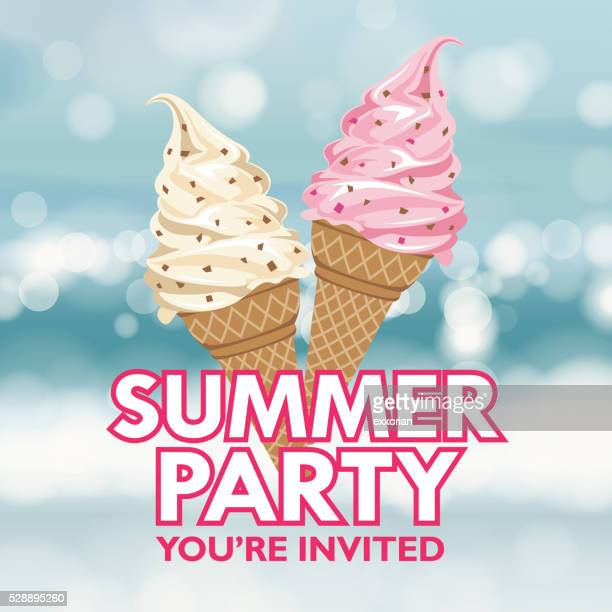 summer party invitation - ice cream stock illustrations, clip art, cartoons, & icons