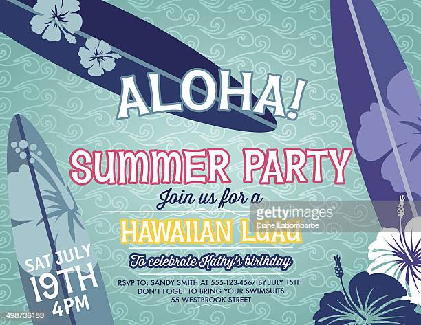 Summer party invitation with an aloha surfing theme.