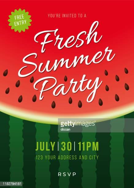 illustrations, cliparts, dessins animés et icônes de invitation fête d'été avec fond de melon d'eau. - pastèque