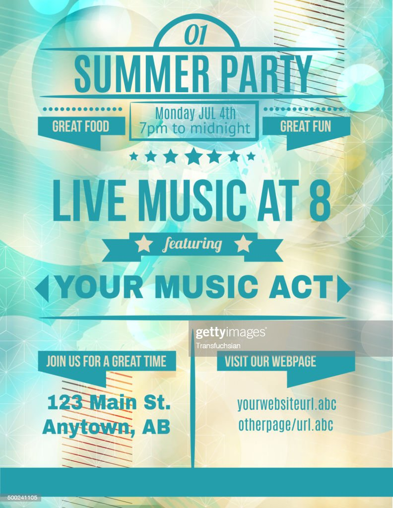 Summer party live music flyer template
