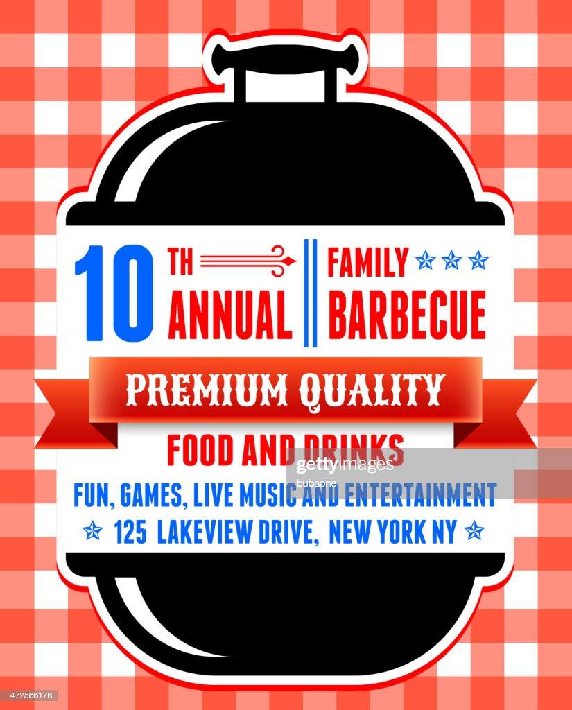 Summer party picnic and barbecue invitation red checker tableclo