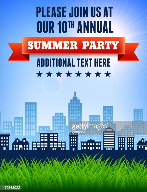 Sommer-Picknick und barbecue-party-Einladung mit skyline, ba