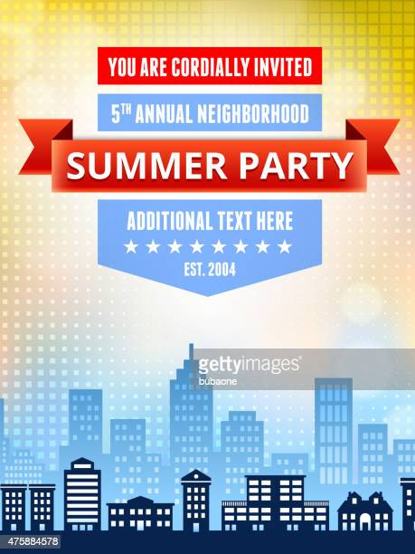 Summer party picnic and barbecue invitation with city skyline ba