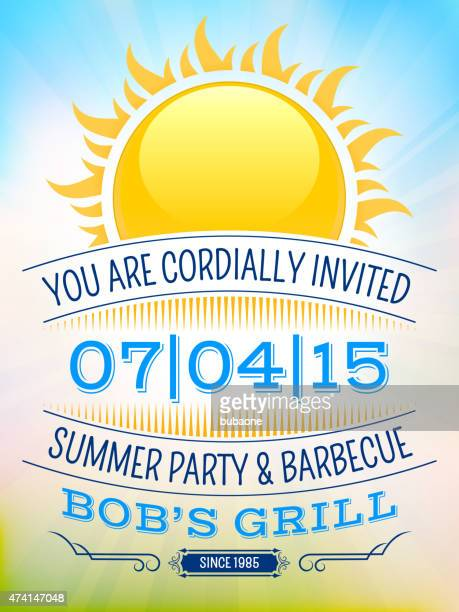 summer party picnic vintage invitation with sunlight vector back - party social event stock illustrations, clip art, cartoons, & icons
