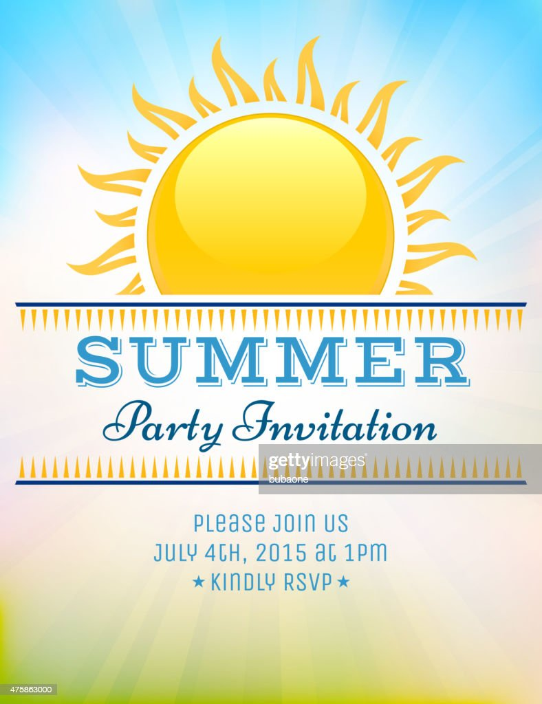 Summer party picnic vintage invitation with sunlight vector back : stock illustration