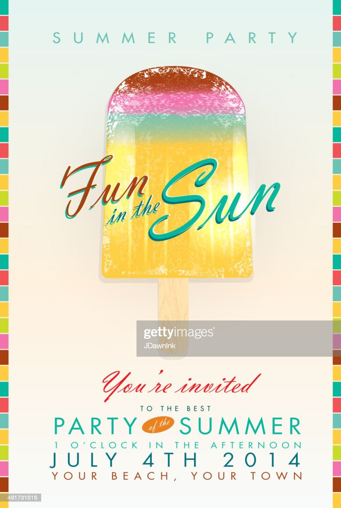 Summer party popsicle 'Fun in the Sun' template invitation design