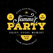 Summer party poster black