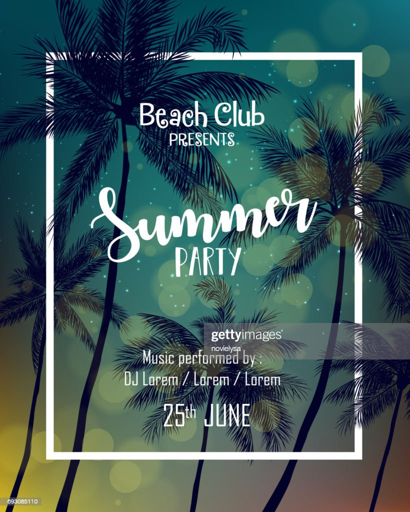 Summer party poster design template with palm trees