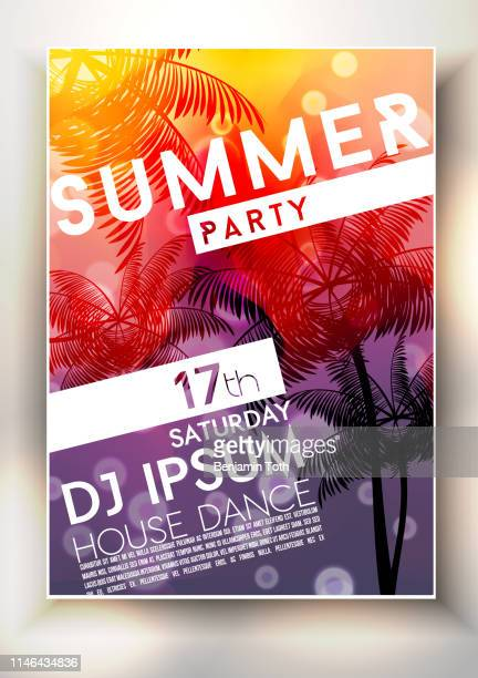 summer party poster design - poster stock illustrations