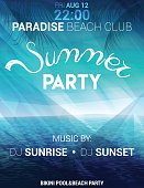 Summer party poster, flyer with seascape on a polygonal background